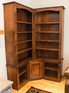 Custom Made Rustic Alder Custom Corner Bookcase