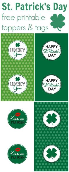 Free St. Patrick's Day treat toppers and gift tags ~ Just print and punch out.