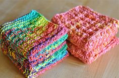 Ravelry: waldorfmama's pinky-peach waffle washcloths