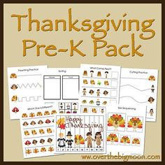 Thanksgiving Pre-K Pack. Some fun activities to do around Thanksgiving. Thanksgiving Preschool, Fall Preschool, Preschool Crafts, Crafts For Kids, Thanksgiving Ideas, Preschool Ideas, Craft Ideas, Thanksgiving Worksheets, Holiday Activities