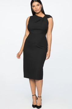 Plus Size Black Twist Shoulder Dress - The classic LBD gets a modern twist from an asymmetrical neckline and an exposed back zipper. A timeless little black party look you'll reach for again and again.  A5 #PlusSizeDresses #getthelook #PlusSize #PlusSizeFashion #PlusSizeStyle #CurvyGirl #boldcurvyfashionista #curvesarein #curvesfordays #curvy #curvyfashionista #Fashion #Style #PlusSizeDresses