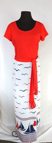 Vintage Alfred Shaheen Nautical Red, White & Blue Maxi Dress - size 6/8