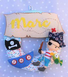 Guirnalda Pirata, decoración habitación niños, regalo bebé, regalo recién nacido, maternidad, regalo personalizado , nombre bebé.