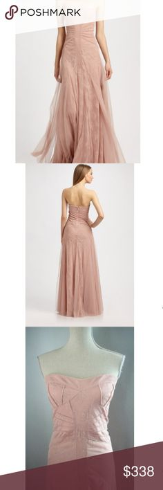 """BCBG MaxAzria """"Moriza"""" Powder Pink Lace Gown- NWT BCBG MaxAzria """"Moriza"""" Powder Pink Lace Gown- Brand new with tags.  Captivating gown with flowing layers of metallic lacy floral detail with tulle overlay. Strapless (comes with extra straps). Sweetheart neckline. Slim fit through bodice with full-length silhouette. Darted detail at corseted bodice.    This stunning design was featured in BCBG MaxAzria's Valentine's Campaign!  (sorry pic of tag is blurry! My iphone cam lens shattered and…"""