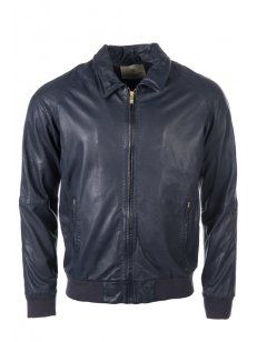 Scotch and Soda - Perforated Leather Jacket Navy