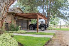 Building an Easy DIY RV Cover burningham-jeep-attached-carport-pergola Timber Pergola, Pergola Carport, Building A Pergola, Deck With Pergola, Cheap Pergola, Wooden Pergola, Covered Pergola, Backyard Pergola, Pergola Shade