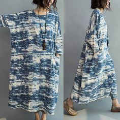 Women Blue batik long section loose stitching sleeve cotton casual dress