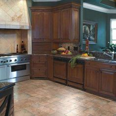 Offer an ultra realistic stone finish to your home with this Tuscan Stone Bronze Click Lock Laminate Flooring from Home Decorators Collection. Laminate Tile Flooring, Diy Flooring, Stone Flooring, Flooring Ideas, Kitchen Flooring Options, Kitchen Floors, Kitchen Tile, Kitchen Reno, Kitchen Remodeling