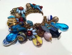 Vintage Assemblage CHARM Bracelet Chain Bangle CHUNKY Bold Unique Handmade Old Something Blue Eiffel Tower Arm Candy FUN designer jewelry