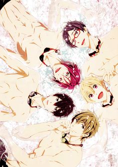 Iwatobi Boys + Rin in a pool full of gorgeous cherry blossoms.   Anime: Free!