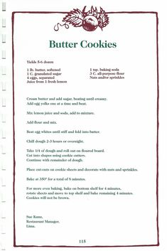 Retro Recipes, Old Recipes, Vintage Recipes, Cookbook Recipes, Sweet Recipes, Candy Cookies, Cookie Desserts, Yummy Cookies, Sugar Cookies