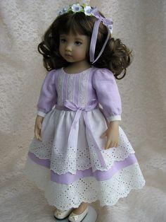 "Linen and vintage lace dress w/ circlet Effner Little Darling Tomi Jane 13"" doll"