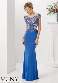 Evening Gown 71130 Jersey with Beaded Net