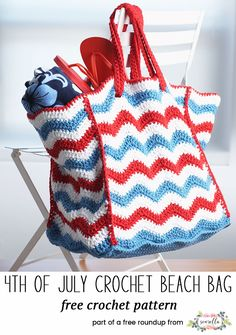 Crochet this americana ripple beach bag from my crochet bags and toes for spring free pattern roundup!