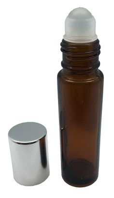 GotOilSupplies.com - 10 ml Amber Glass Roller Bottles with Glass Roll On Inserts