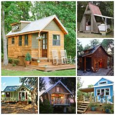 """The """"Wind River Bungalow"""" is the Chattanooga, Tennessee, home of tiny house enthusiasts Travis and Brittany Pyke, who started Wind River Custom Homes to help others fulfill their dreams of living simply in mini dream homes. from Country Living Bungalow, A Frame Cabin, Tiny House Movement, Cabins And Cottages, Tiny Cabins, Earthship, Tiny Spaces, Tiny House Living, Tiny House Plans"""