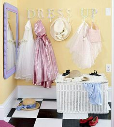 hooks for dress-up area. Easy to reach = easy(er) to clean up!