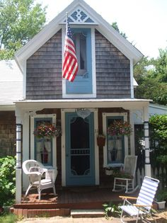 Gingerbread cottages in Oak Bluffs, MA. Some available as coastal rentals.