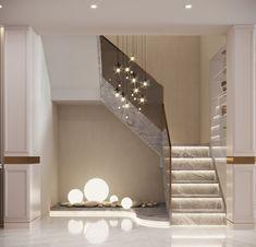 Home Stairs Design, Home Design Plans, Home Interior Design, House Front Design, Small House Design, Living Room Partition Design, Modern Villa Design, Stair Decor, Lobby Design