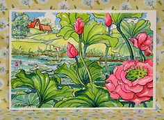 Thanks to @Lynda Aplin, her red roof board introduced me to this charming art work. This series of garden flowers is among my favorite.