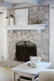 erin's art and gardens: painted stone fireplace before and after. Annie Sloan chalk paint. Love the mantle too