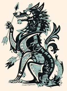 Keep calm & play banjo Animal Drawings, Cool Drawings, Fenrir Tattoo, Arte Dark Souls, Wolf Images, Fantasy Creatures, Furry Art, Werewolf, Art Tutorials