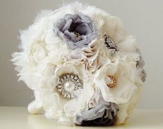 Fabric Wedding Bouquet Brooch Bouquet Vintage by bouquets4love