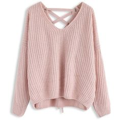 Chicwish Focus on Lace-up Back Sweater in Pink (€34) ❤ liked on Polyvore featuring tops, sweaters, pink, lace front sweater, lace front top, lace up front top, laced up top and pink top