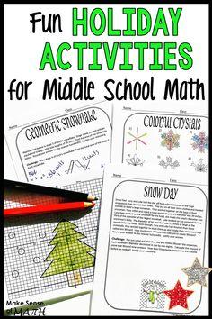 3 Fun Holiday Activities for Middle School Math Seventh Grade Math, Eighth Grade, Christmas Math Worksheets, School Holidays, Math Classroom, Math Activities, Group Work, Middle School, Problem Solving