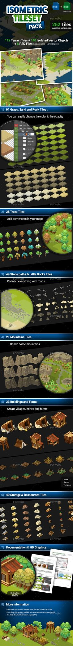 """This pack contains 252 tiles (divided into 8 """"ready to use"""" tileset) that you can use to create an Isometric Map for you game, or your project. You can use this pack your isometric RPG/MMORPG, of anything else. Game Design, Make Your Own Map, Rock Tile, Isometric Map, Dungeon Tiles, Unique Maps, Game Terrain, Pixel Art Games, Stone Path"""