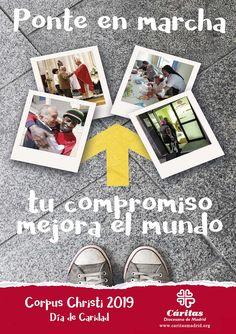 Cartel Campaña de Caridad 2019: TU COMPROMISO MEJORA EL MUNDO #PonteEnMarcha #TuCompromisoMejoraElMundo #DíaDeCaridad19 #CorpusChristi2019