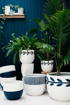 fancy design ceramic plant pots. How good are these painted planters from Australian design duo Poppy Lane  and Scott Gibson Chic pots not easy to find especially sizable ones Leta Garden Pot Anthropologie Joshua tree wedding