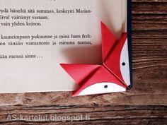 Miksi ihmisillä on ajatus, että origamitaittelu on vaikeaa? Tämäkin kirjanmerkki syntyy vain muutamalla hassulla taitoksella ... Merian, Bookmarks, Cards, Diy Ideas, Reading, Books, Libros, Marque Page, Book