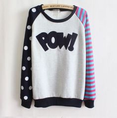 Pow! Comic Book Inspired Sweater. Cute, girly, kawaii style. Black, Pink, and Blue. Who says you can't wear both Polka Dots & Stripes? Get this and more at the Geekyloot eBay store!