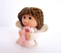 Polymer Clay Breast Cancer Awareness Angel by creationsbycurry, $8.95