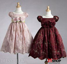 Pretty A-line Tea-length Square Puff-sleeve Flowers & Embroidery Flower Girl Dress