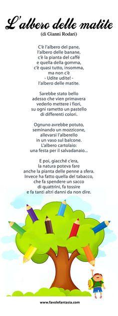 L'albero delle matite Italian Language, French Language, Italian Vocabulary, Learning Italian, Primary School, Nursery Rhymes, Preschool, Montessori, Classroom