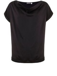 Black Washed Satin Slouch Tee