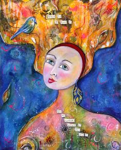 Mother Nature Original Mixed Media Painting Original Art 16 x 20 Gallery Wrapped Canvas - pinned by pin4etsy.com