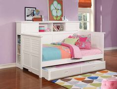 Scotti Twin Daybed with Trundle Diy Cardboard Furniture, Kids Playroom Furniture, Bookcase With Drawers, Kids Bookcase, Twin Daybed With Trundle, Trundle Beds, Kids Bedroom Sets, Bedroom Ideas, Small Bedroom Designs