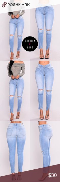 """NWT Fashionnova Ripped Split Ankle Jeans PRODUCT FEATURES: • Brand new with tags • Mid-rise • Ripped knee slit • Split ankle design • 75% Cotton, 22% Polyester, 3% Spandex • 27"""" inseam  SELLER INFO: • Smoke-free home • Guaranteed fast shipping • Free courtesy gift with every package • Purchased at retail price for $37.99 Fashion Nova Jeans Ankle & Cropped"""