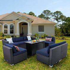 Wicker Furniture, Furniture Sets, Gas Fire Pit Table, Rattan Side Table, Steel Fire Pit, Real Fire, Beige Cushions, Sofa Styling, Fire Glass