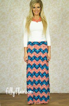 Color Your Own Chevron Maxi Skirt