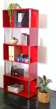 Hummingbird Hayes Chrome and Gloss Bookcase Red