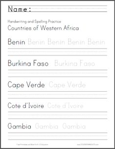 West Africa: Handwriting and Spelling Practice- Three worksheets to choose from. Great way to combine ELA and Geography. Free to print.