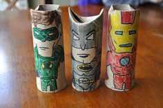 Cheapest action figures ever, awesome superheroes out of TP rolls from I Am Momma Hear Me Roar.