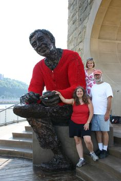 Yarn bombing at its very best: a sweater for Mr. Rogers!