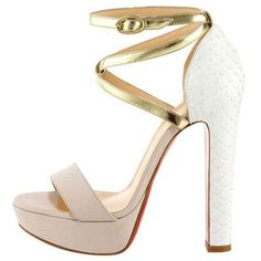 Christian Louboutin Summerissima 140mm Sandals Gold White -$149