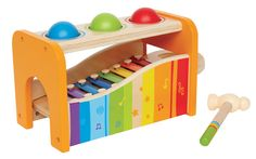 Wooden Pound n Tap Bench from Hape. When hammered, balls drop and roll down the removable xylophone! Perfect versatile toy for babies & toddlers.