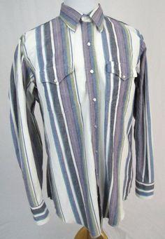 H Bar C Western Shirt Large 16 1/2 Striped Pearl Snap Cowboy Frontier Ranchwear #HBarC #Western